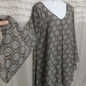 Soprano Boho Hippie Bell Sleeve Dress Large